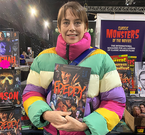 Jennifer Rubin with the Classic Monsters Freddy guide