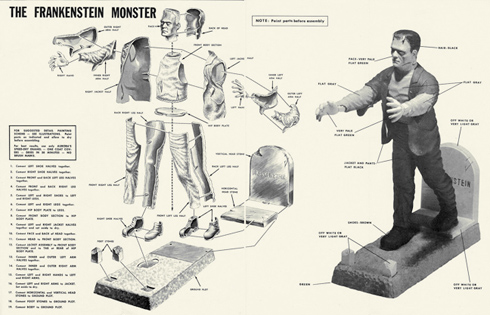 Aurora monster models Frankenstein instructions