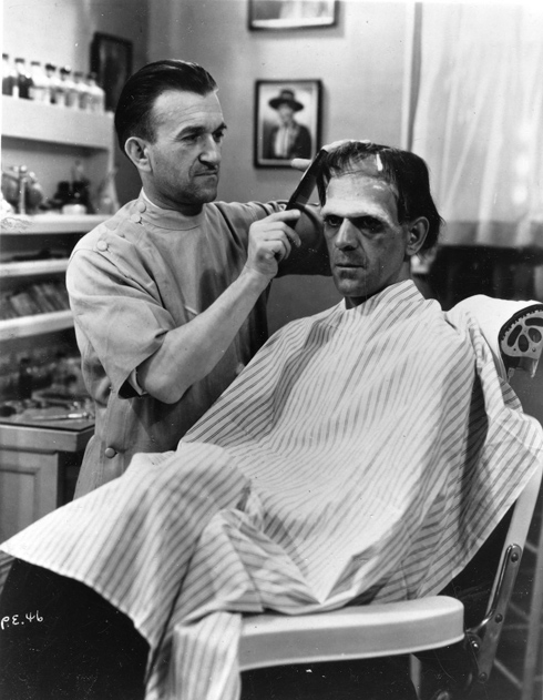 Jack Pierce makes up Boris Karloff