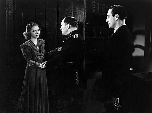 Josephine Hutchinson, Lionel Atwill and Basil Rathbone in Son of Frankenstein (Universal 1939)
