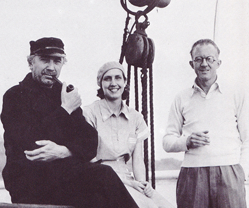 Bela Lugosi with his wife Lillian and director Denison Clift on board the Mary B Mitchell between takes on Mystery of the Mary Celeste (Hammer 1935)